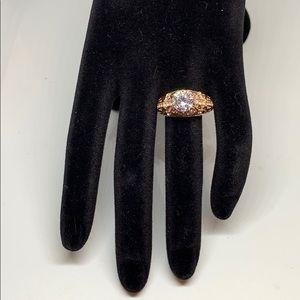 Luxury Rose Gold Filled White Topaz Cocktail Ring